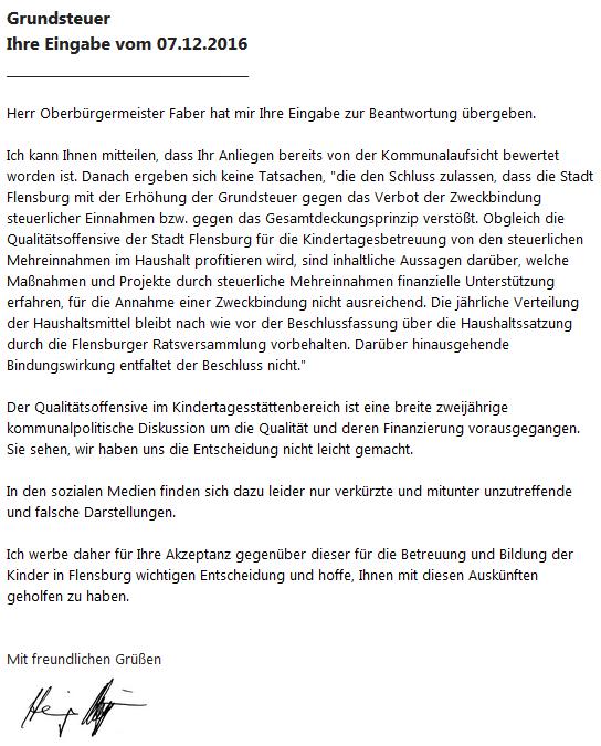 Grundsteuer: Antwort der Stadt Flensburg